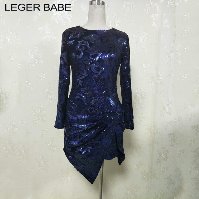 2019 Fashion Nova Long Sleeve Asymmetric Hem Dark Blue Mini Sequin Dresses  Full Sleeves Bodycon Cami Party Wear Dress for Women c64af1d42b94