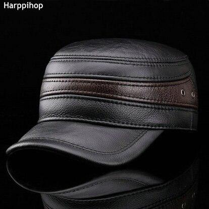 HARPPIHOP FUR Fashion sheepskin military hat cadet cap hat for man genuine leather hat quinquagenarian hat thermal ear