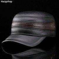 HARPPIHOP FUR Fashion Sheepskin Military Hat Cadet Cap Hat For Man Genuine Leather Hat Quinquagenarian Hat