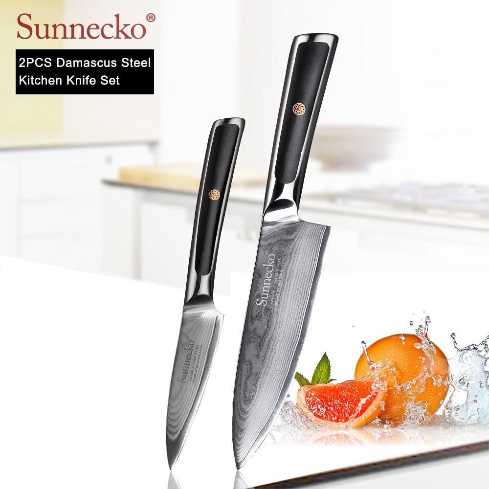 SUNNECKO New 2PCS Kitchen Knives Set 6 5 Chef 3 5 Paring Meat Fruit Knife Japanese