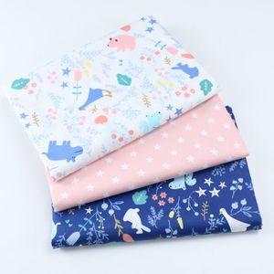 Por metro algodão dos desenhos animados impresso pano bebê doug cobertor revestido tecido de cama algodão sarja pano