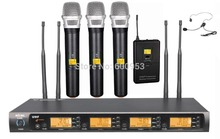 3 Handheld 1 Headset Set Professional 4x100 Channel UHF Wireless Microphone System