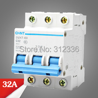 Free Shipping 2 years Warranty DZ47 60 C32 3P 32A 3 pole domestic C type small air switch unipolar Electric shock protection