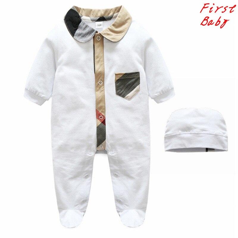 2017 Новый дизайн бренда мальчиков хлопок половина рукава плед полосатый комбинезон мальчик перемычки высокое качество детские комбинезоны 0-24 М 17F401
