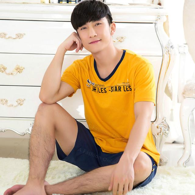 Camisa dos homens T de Algodão Pajama Set Pijamas Sexy Roupa Interior Dos Homens Tees Undershirts Tshirts Marca Casuais Calções de Manga Curta Azul Marinho