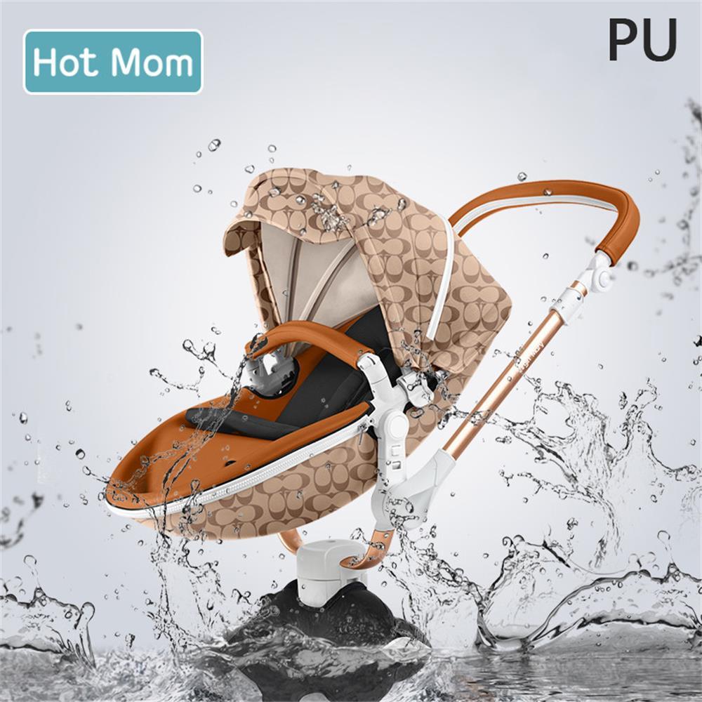 Gratis verzending Hot Mom 2 in 1 Luxe Kinderwagen twee-weg Pasgeboren vervoer Hoge Landschap Baby Kinderwagen Licht folding PU Materiaal 4