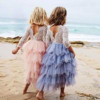 Cô gái Công Chúa Dài Ren Hoa Tầng Tulle Maxi Dress Dài Tay Áo Wedding Party Trẻ Em Quần Áo trẻ em bán buôn quần áo