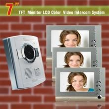 7 Inch video Door Phone Doorbell Intercom System Video Door Bell Night Vision camera Waterproof visual Intercom 3-Monitor Kit