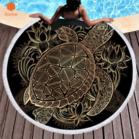 Women Large Bath Towel for Beach Thick Round 3D tortoise Printed Beach Towel Fabric Quick Compressed Towel Tapestry Yoga MatYJ46
