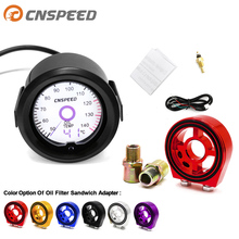 2 inch / 52mm LCD liquid crystal 7 color virtual pointer display oil temperature gauge Celsius with Oil Filter Sandwich Adapter
