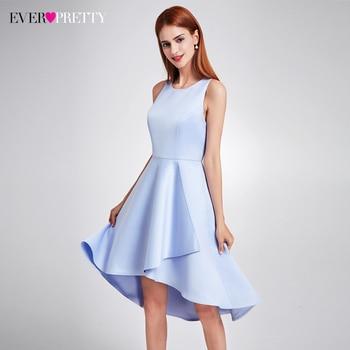 d0e482541 Bonito 2019 mujeres elegante azul marino vestidos de noche cuello imperio  cintura asimétrico sin mangas Simple satén vestidos fiesta