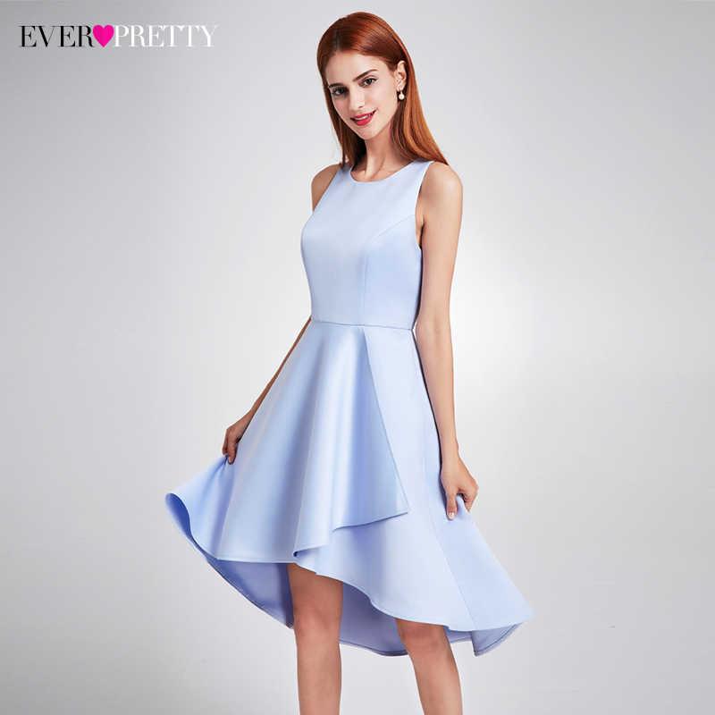 Sempre Bonita 2019 Mulheres Elegante Azul Marinho Vestidos de Noite O Pescoço Império Cintura Assimétrica Simples Sem Mangas de Cetim Partido Vestidos