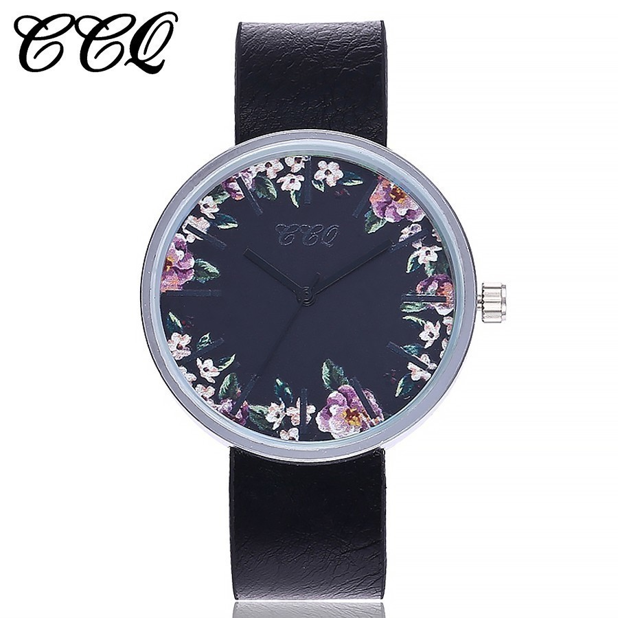 New CCQ Brand Simple Style Watches Women Floral Wristwatches Casual Leather Strap Quartz Sport Watch Gift Clock Drop Shipping new 2017 popular women casual watch ladies leather luxury watches woman sport quartz wristwatches simple female clock hours gift