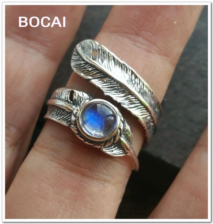 Modré světlo duhového měsíčního svitu, 5,5 mm kulaté nádherné peří 925 stříbrných prstenů