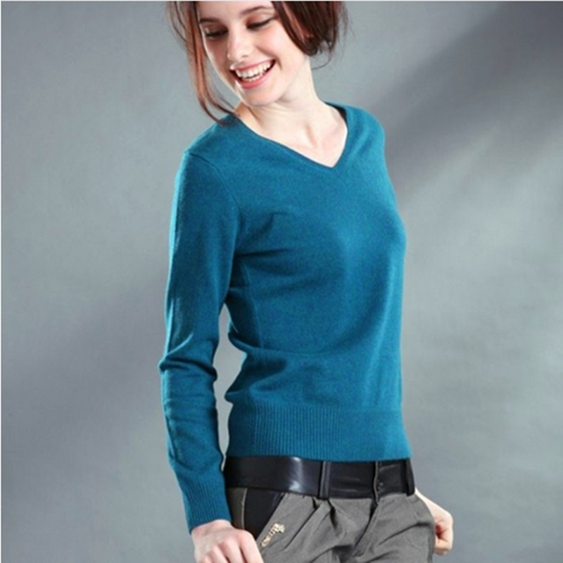Sexy V-neck Pullover Tops Knitted Cashmere Sweater Women