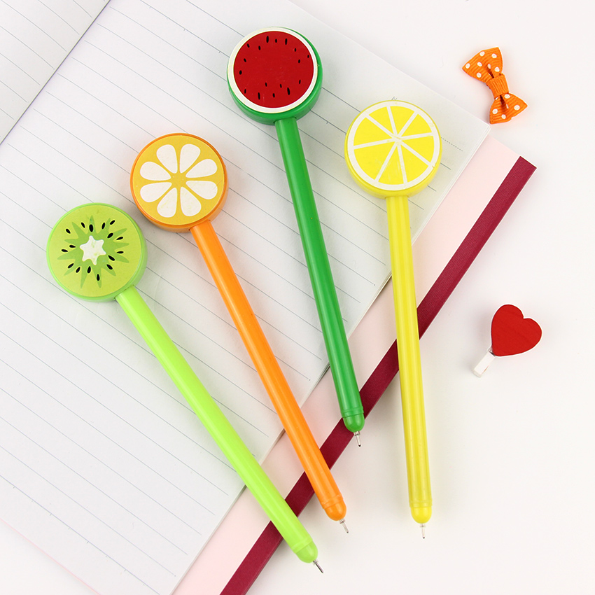 3PCS 0.5mm Korean Personality Fruit Lollipops Gel Pen Writing Stationery For Kids Gift Office School Supplies