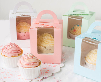 Free Shipping 30PCS/LOT 5 Color Available Single Cupcake Box Biscuit Box With Insert