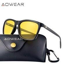 AOWEAR, унисекс, очки для ночного видения, мужские, поляризационные, желтые, солнцезащитные очки для мужчин и женщин, туманные, для ночного вождения, солнцезащитные очки oculos lentes