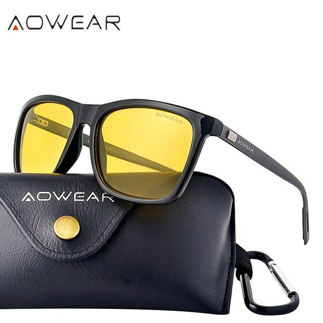 7a91711469d AOWEAR Unisex Night Vision Glasses Male Polarized Yellow Sunglasses for Men  Women Foggy Night Driving Sun