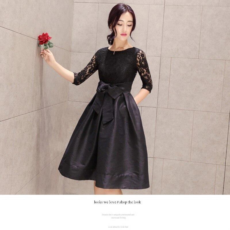 50er Jahre Kleid 2016 neue Retro elegante Bogen Gürtel Spitze - Damenbekleidung - Foto 3