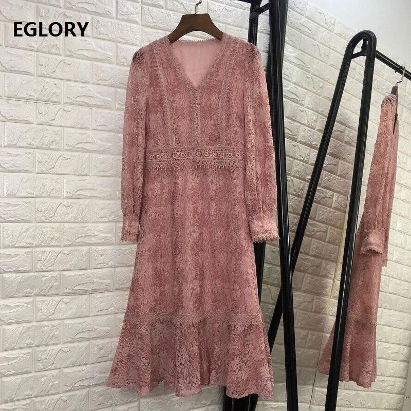 Rose noir dentelle Robe nouvelle mode 2018 automne Style femmes v-cou à manches longues mi-mollet longueur partie élégante Robe Robe Longue