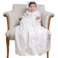 New Baby Dress Solid Formal Half Puff Sleeves A line O0neck Lace Christening Dress Vestidos Infantis Baby Girl Baptism Gowns