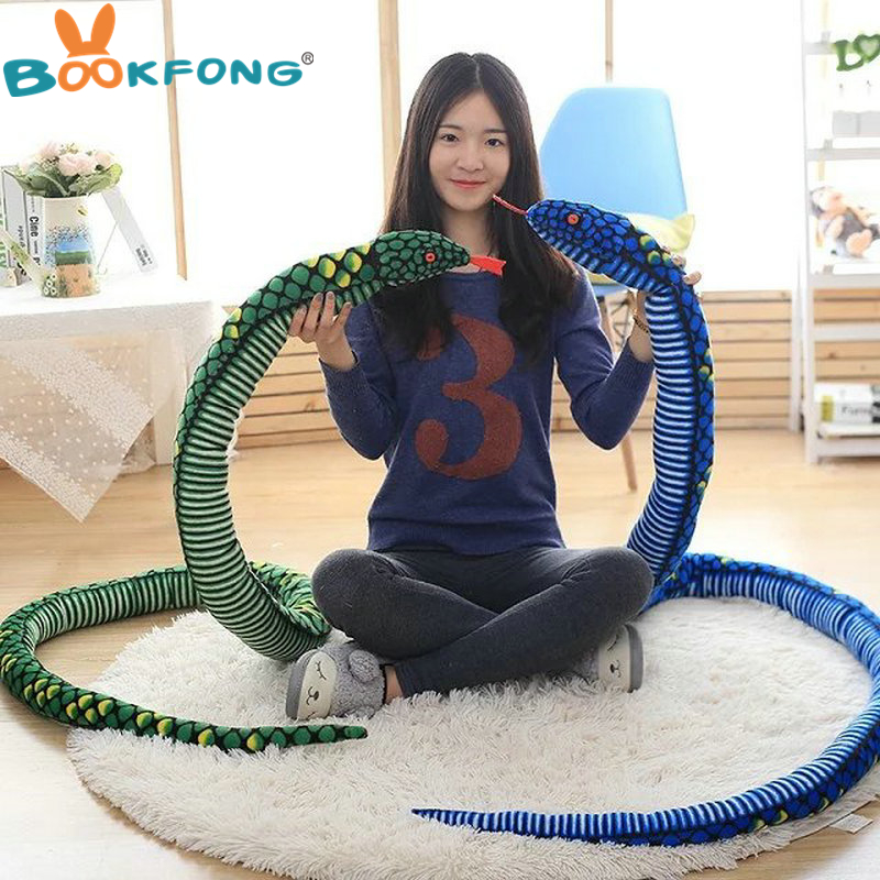 BOOKFONG Giant Simulation Snake Cloth Toy Soft Stuffed Dolls Birthday Gifts Baby Funny Plush Toy long 170/280cm Snake Plush Toy 65cm cosplay wig lady long wavy hair full wigs party 3 colors