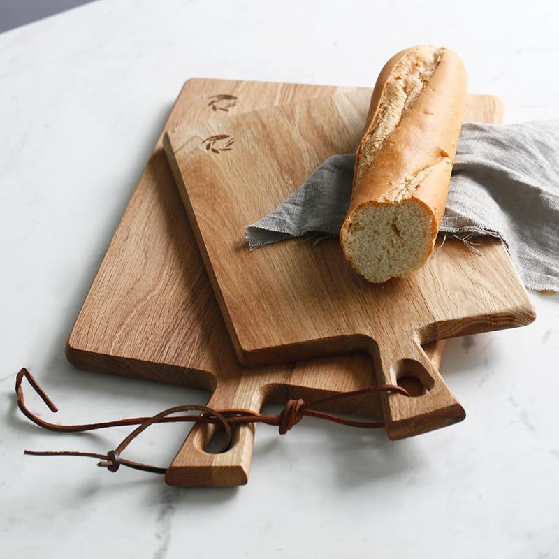 Oak cutting board bread mug-up plate log natural paint tableware decoration