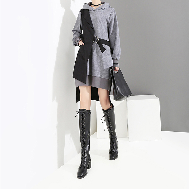 Image 2 - New 2019 Korean Style Women Autumn Winter Black Patchwork Hooded 