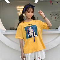 2018 Summer Korea Women New Top Fashion Cotton Short Sleeve Kawaii Cartoon Print Wild Harajuku Vadim