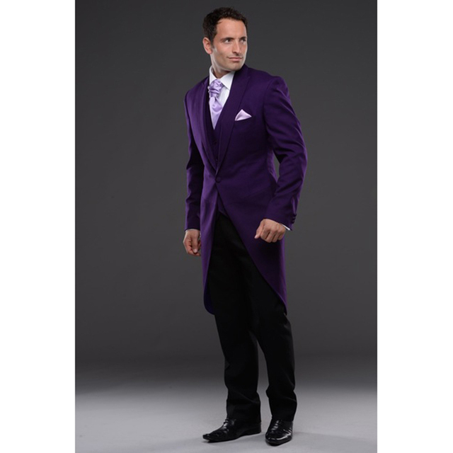 2017 Purple Tailcoat Men\'s wedding tuxedos Groom tuxedos wedding ...