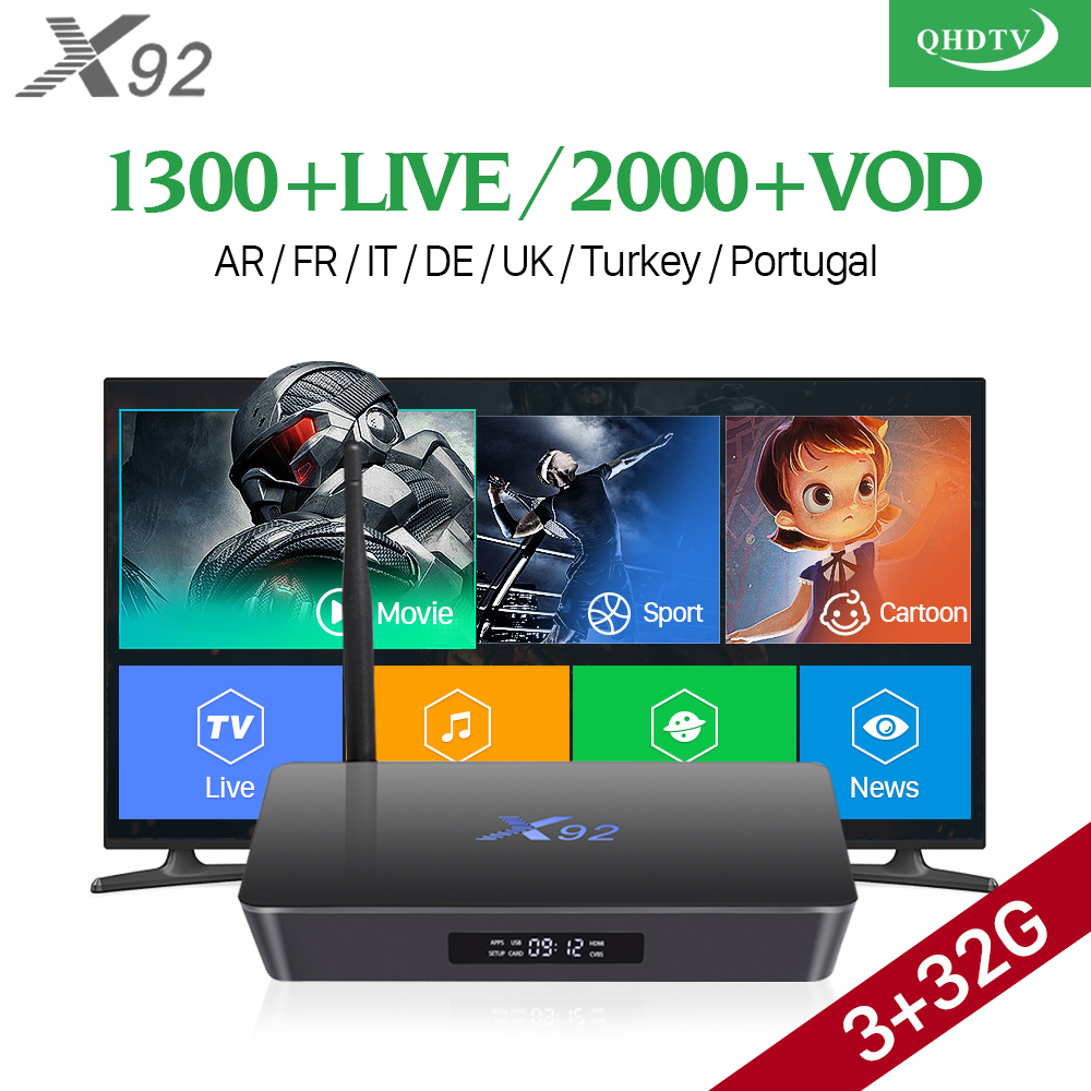 X92 Android 7.1 IPTV French Box S912 with QHDTV 1 year Subscription 1300+ IPTV French Arabic Belgium Netherlands Channels