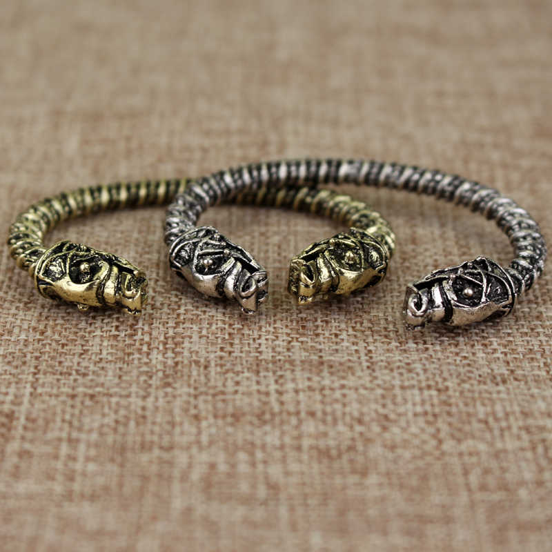 The vikings bracelet two Headed Wolf Fenrir Viking Logo Mens Bracelets Jewelry Maxi Men Pagan Bangles Jewelry Wristband