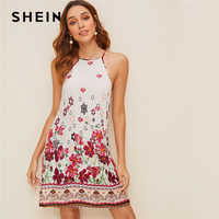 SHEIN Floral Print Spaghetti Strap Boho Beach Straight Dress Women 2019 Summer Holiday Sleeveless Button Back Short Cami Dresses