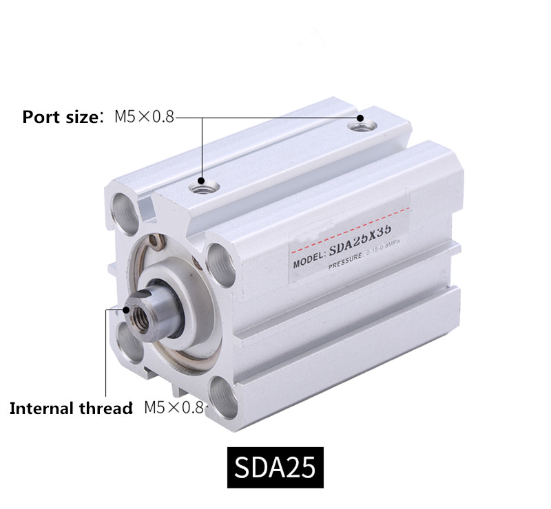 Free shipping Thin cylinder SDA25 series 5mm to 100mm stroke aluminum alloy air cylinder Pneumatic componentsFree shipping Thin cylinder SDA25 series 5mm to 100mm stroke aluminum alloy air cylinder Pneumatic components