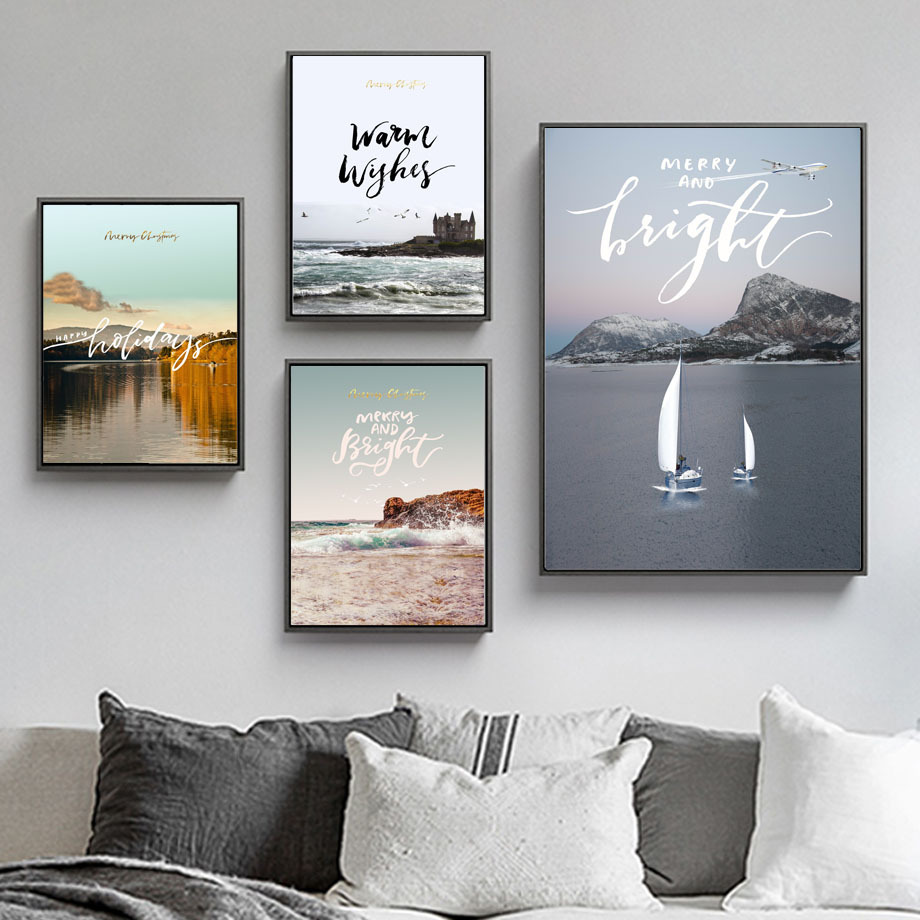 Sea Mountain Sailboat Landscape Quotes Wall Art Canvas Painting Nordic Posters And Prints Wall Pictures For Living Room Decor in Painting Calligraphy from Home Garden