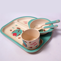 5pcs Set Of Children's Dishes Bamboo Tableware Baby Food Children's Plate Bowl Fork Spoon Bamboo Plate Baby Feeding