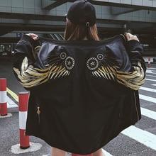 New Autumn Wings Embroidery Bomber Jacket Women Harajuku Army Green Basic Jacket Female Coats Women's Zipper Outwear Tops