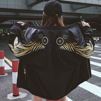 New Autumn Wings Embroidery Bomber Jacket Women Harajuku Army Green Basic Jacket Female Coats Women's Zipper Outwear Tops