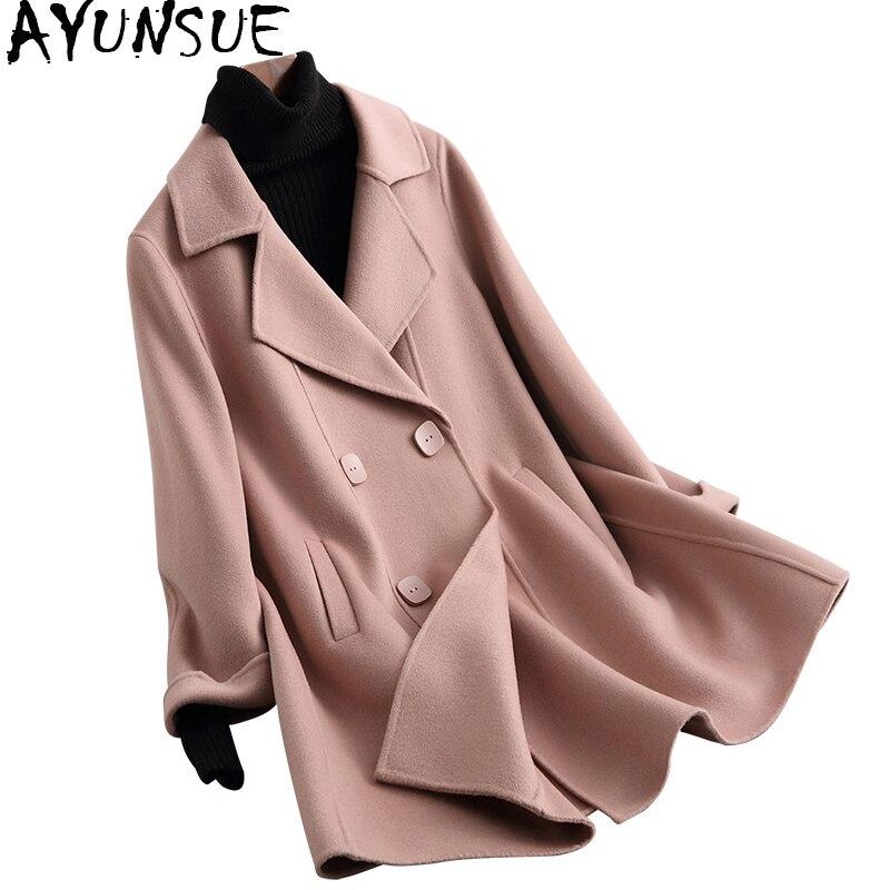 Vestes La Laine Solide Femmes Face Wyq1446 Automne Ayunsue À Nouveau Beige Femelle Couleur pink Hiver 2018 Pardessus Main Breasted Double Manteau q7ntFWW1