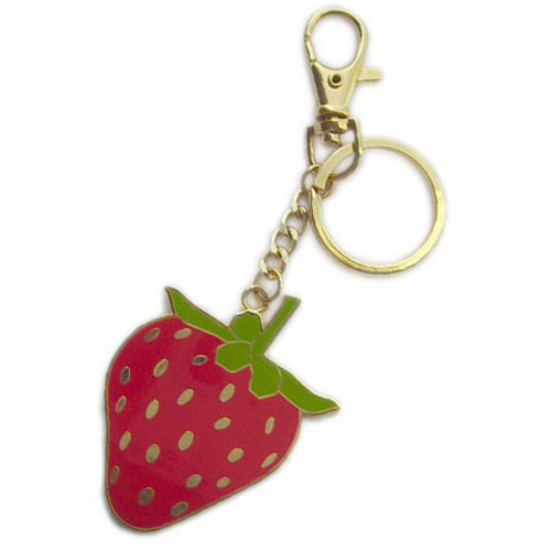 Free shipping gold plated zinc alloy fruit strawberry keychain key chain  keyring key a73e39417