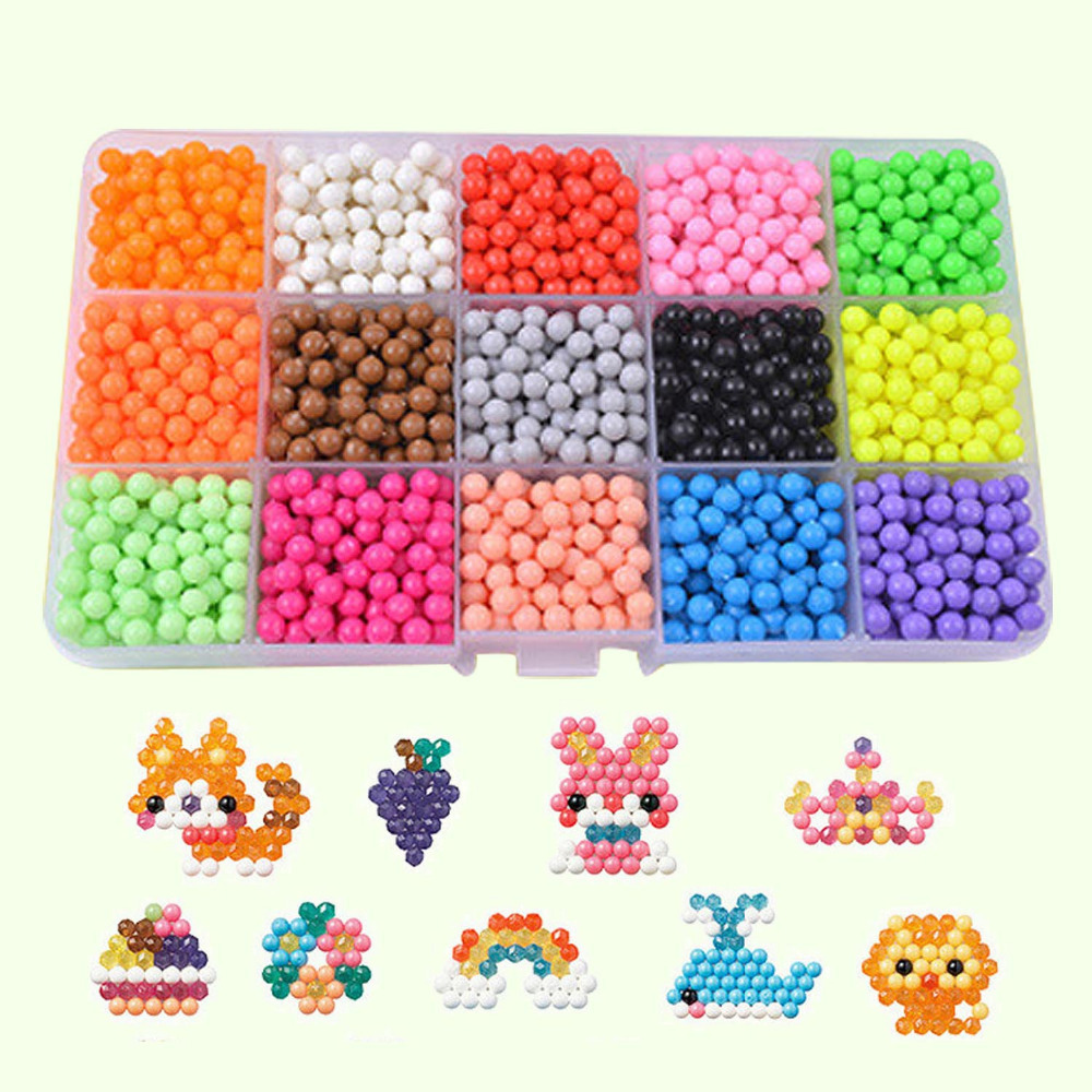 2400PCS 15Colors 3D DIY Water Fuse Beads Puzzle Pegboard Hama Beads Template Perler Sticky Beads Jigsaw Accessories Tool Toy