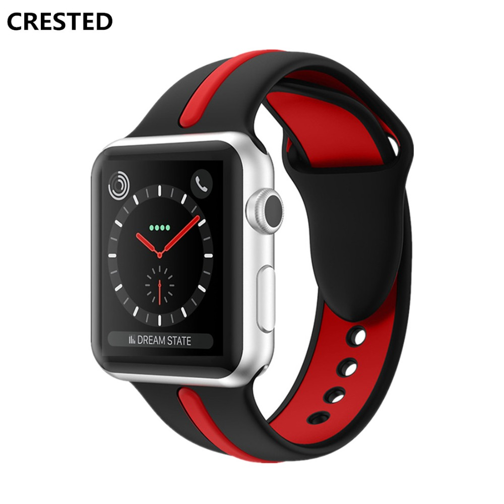 CRESTED sport strap For apple watch band 42mm/38mm iwatch series 3 2 1 rubber bracelet wrist bands belt smatwatch Accessories шрамы 3d blu ray