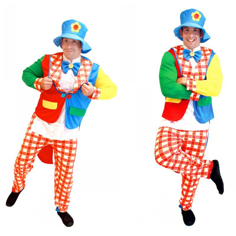 Steady Man The Circus Clown Cosplay Halloween Droll Costumes Holiday Festival Parade Stage Show Carnival April Fool 's Day Purim Dress Meticulous Dyeing Processes