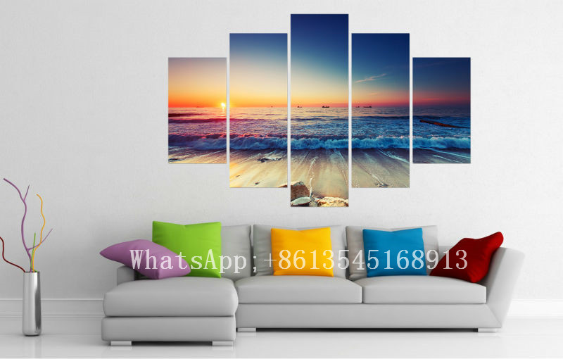Elegant Big Size Modern Seascape Sunrise Wall Art Picture Print Painting On Canvas  Unframed Wall Pictures For