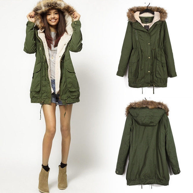 Hot Sale Winter Women Warm Hooded Military Green Faux Fur Long ...