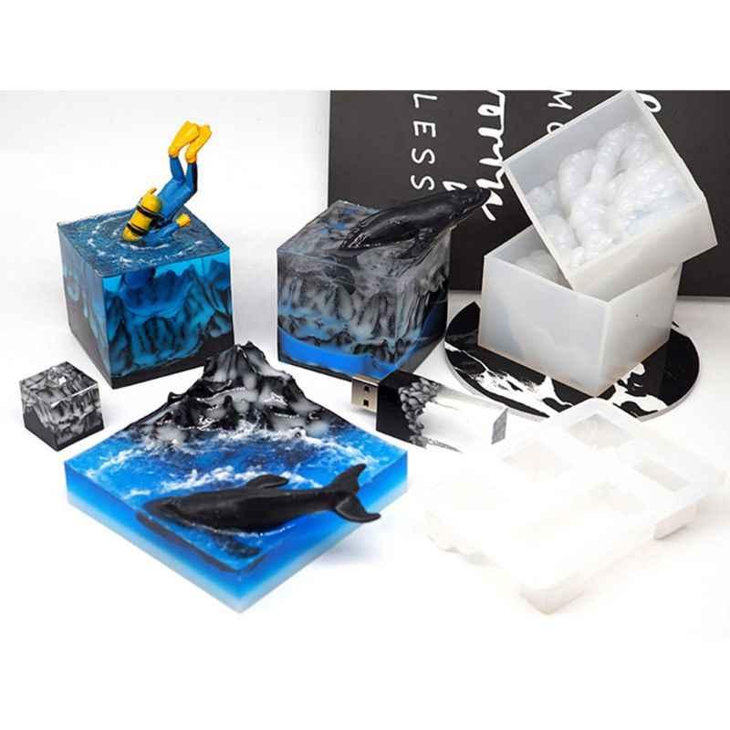 Molde de montaña de nieve Molde de resina de silicona DIY Micro paisaje USB Drive moldes de resina artesanías accesorios hechos a mano fabricación de joyas