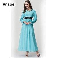 Bright Color Lace Waist Solid Chiffon Mujer Muslim Women Maxi Dresses Arab Girls Dress Long Garment