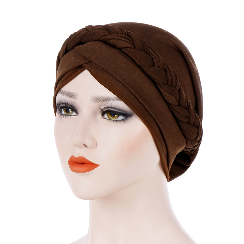 Graceful Cap African Style Headwear Muslim Turban Hair Accessories Fashion Women Solid Braided Bandanas