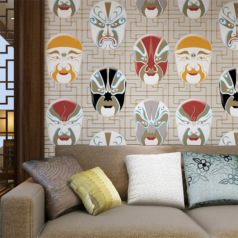beibehang Chinese non - woven wallpaper study KTV upscale hotel teahouse club opera mask works wallpaper decorationbeibehang Chinese non - woven wallpaper study KTV upscale hotel teahouse club opera mask works wallpaper decoration